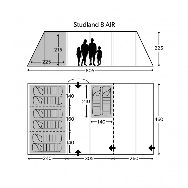 Studland 8 Classic Air Familienzelt
