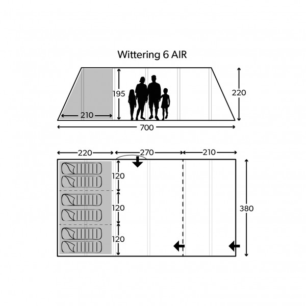 Wittering 6 Air Package Familienzelt