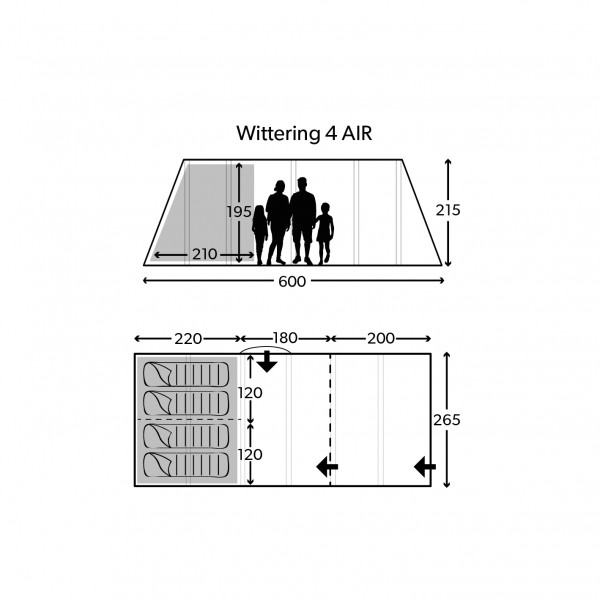 Wittering 4 Air Package Familienzelt
