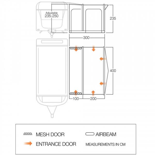 Vienna 400 Wohnwagenluftvorzelt